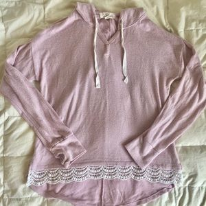 Pink long sleeve hoodie with lace trim
